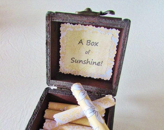 A Box of Sunshine! Sunny and inspiring quotes on scrolls in a wood box - sunshine gift, inspirational quote, friend gift, bestie gift