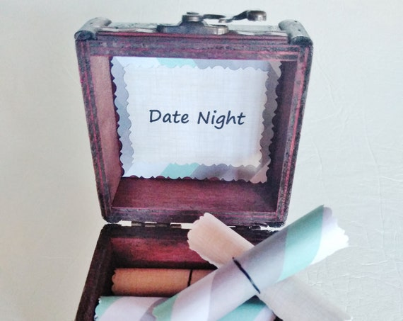 Date Night Box - 12 creative date night ideas in a wood box - Valentines Gift for Him - Gift for Husband - Gift for Boyfriend - Birthday