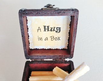 A Hug in a Box Caregiver Gift - uplifting quotes in a wood box - support gift - caretaker gift - husband cancer - wife cancer