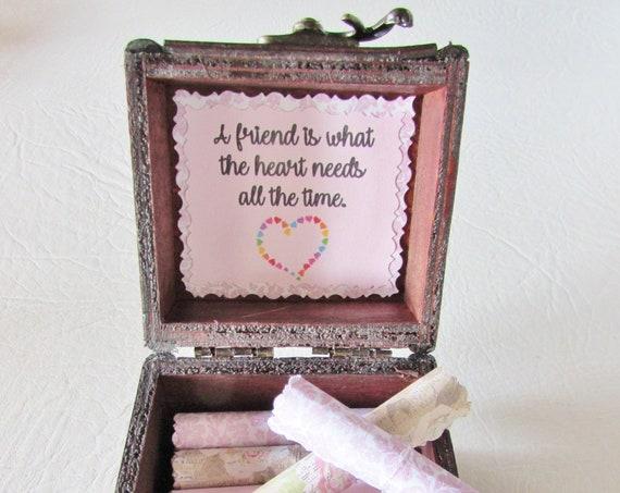 Friendship Scroll Box - friendship quotes in a wood box - cute friend gift, bestie gift, friend quote, friend quote box, best friend gift