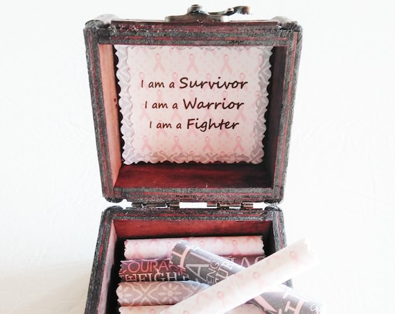 Breast Cancer Scroll Box - Encouraging Quotes in a Wood Box - Mother Breast Cancer - Sister Breast Cancer - Cancer Survivor - Cancer Gift