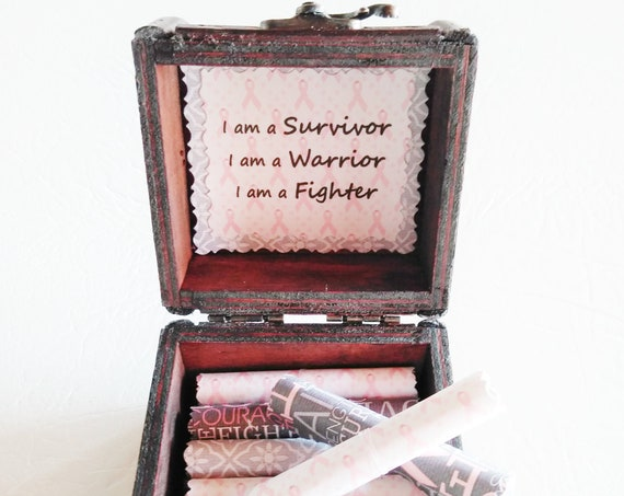 Breast Cancer Scroll Box - encouraging quotes in a wood box - Sister Breast Cancer - Mom Breast Cancer - Breast Cancer Gift - Cancer Gift