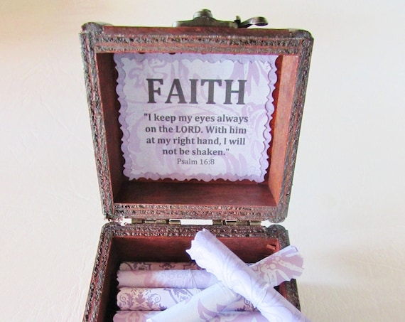 Faith Verse Bible Scroll Box - Uplifting, Encouraging Bible Verses on Scrolls in a Wood Box - Get Well Gift, Bereavement Gift