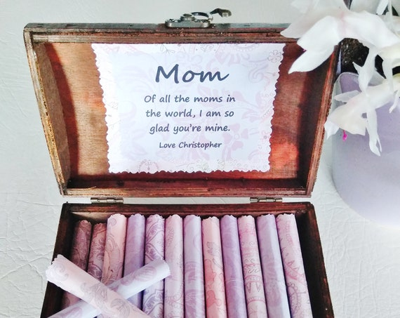 Mom Scroll Box - a beautiful wood jewelry box filled with sweet quotes about moms - Mom Birthday Gift - Mom Christmas Gift - Personalized