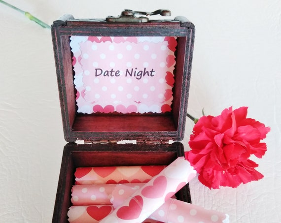 Valentine Date Box - 18 Romantic Date Night Ideas in a Beautiful Wood Jewelry Box - Valentine Gift for Her - Romantic Valentine Gift Idea