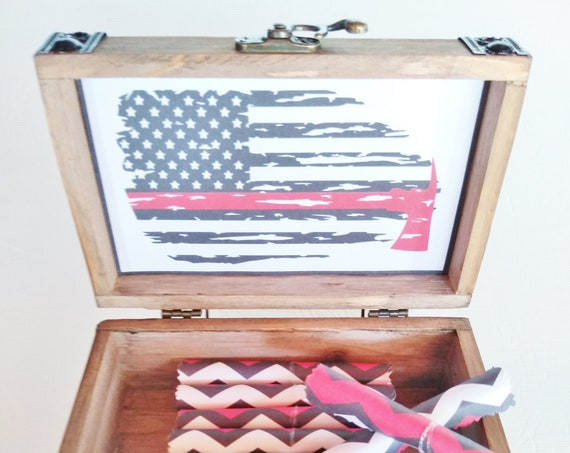 Sympathy Gift - Firefighter Memorial Box - Firefighter Thin Red Line - Bereavement Gift - Line of Duty Death - Grief Gift