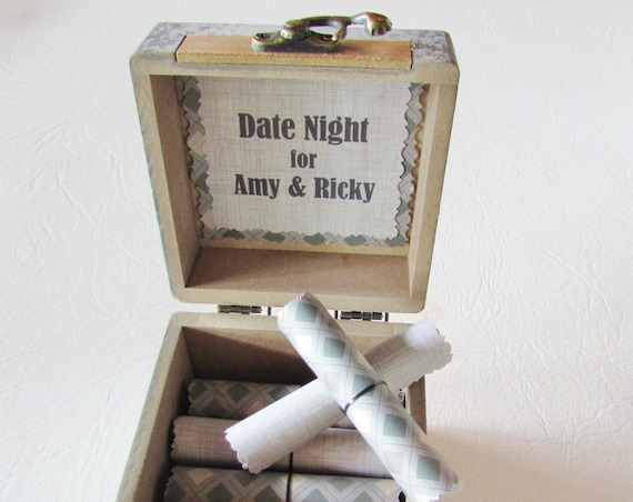 Date Night Scroll Box, Wood Box filled with 18 Creative & Fun Date Night Ideas! Father's Day Gift, Birthday Gift, Valentines, Christmas