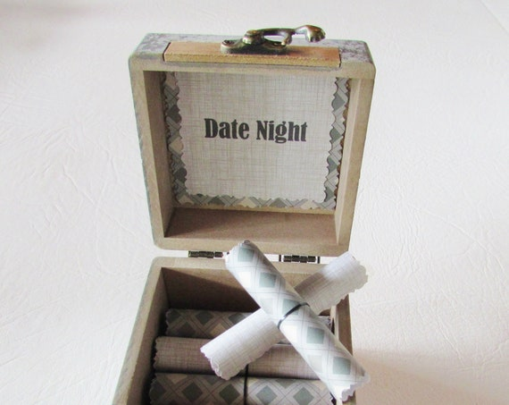 The Date Night Box, creative date night ideas in a wood box - Anniversary Gift for Boyfriend - Birthday Gift for Him - Date Night Scrolls