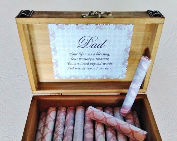 Sympathy Scroll Box - comforting loss quotes in a cedar wood chest - sympathy gift for him - loss of dad - loss of husband - loss of brother