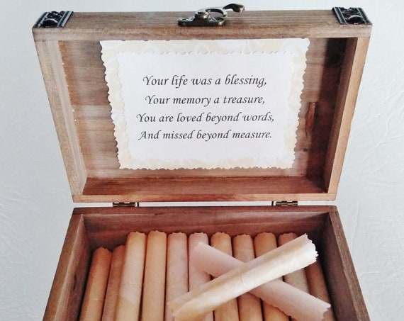 Sympathy Scroll Box - Comforting quotes in a wood cedar chest - Loss of Dad - Sympathy Gift - Bereavement Gift - Funeral Gift - Memorial