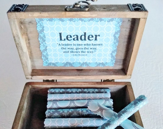 Leadership Scroll Box - Inspiring Leadership Quotes in a Cedar Wood Chest, Leadership Gift,Boss Gift for Men, Boss Gift for Women, Boss Day
