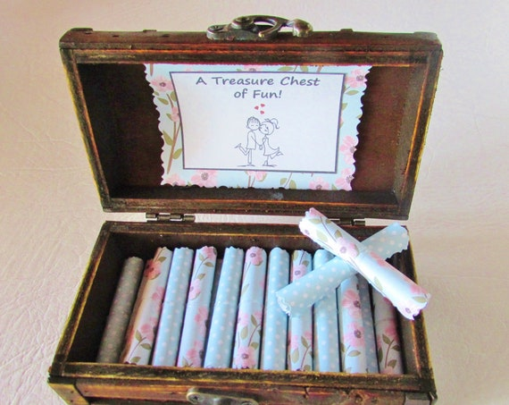 A Treasure Chest of Fun, 12 Fun Date Night Ideas AND 12 Sexual Favor Ideas in a Wood Jewelry Box, Wife Gift Idea, Girlfriend Gift Idea