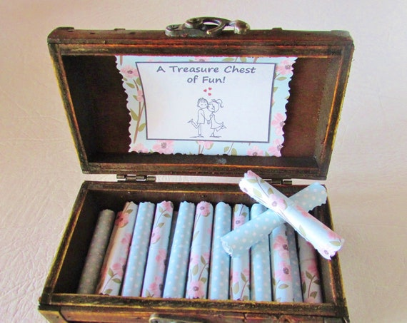 A Treasure Chest of Fun - date night ideas and sex coupons in a wood box - coupon book - romantic valentines day gift for her
