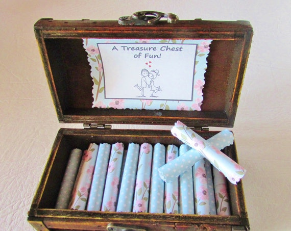A Treasure Chest of Fun - Date night ideas and sex coupons in a wood box - Anniversary Gift - Birthday Gift - Gift for Her - Christmas Gift