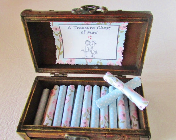 A Treasure Chest of Fun - date night ideas and sex coupons in a wood box - Romantic Gift for Her - Anniversary Gift for Wife