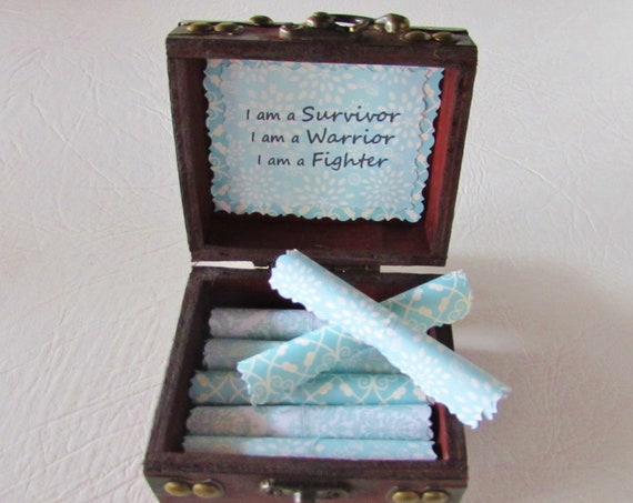 Encouraging Quote Box - quotes of encouragement in a wood box - breast cancer gift, colon cancer gift, prostate cancer, breast cancer card