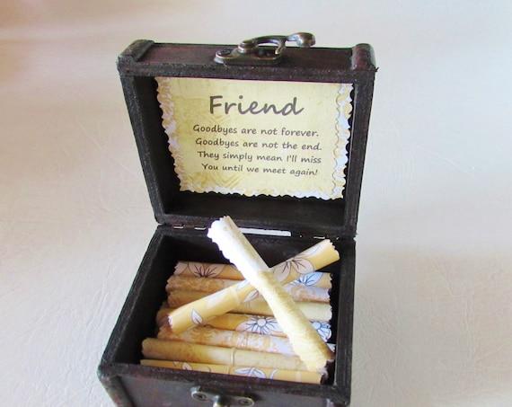 Friend Goodbye Gift Friend Going Away Gift Long Distance Friend Goodbye Quote Friend Quote Best Friend Gift Scroll Box FlirtyCreations