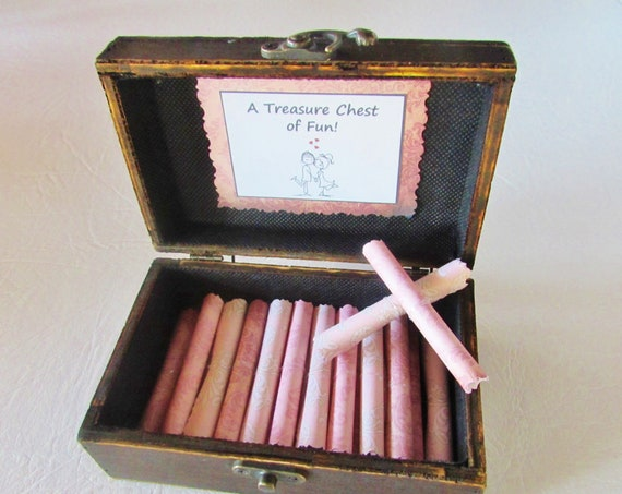 A Treasure Chest of Fun for HER, Date Night Ideas AND Sexual Favors in Wood Chest, Valentines, Birthday Gift, Anniversary Gift, Coupon Book