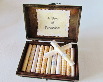 A Box of Sunshine - Encouraging quotes in a beautiful wood box - Birthday Gift - Just Because - Get Well Gift - Divorce Gift - Depression