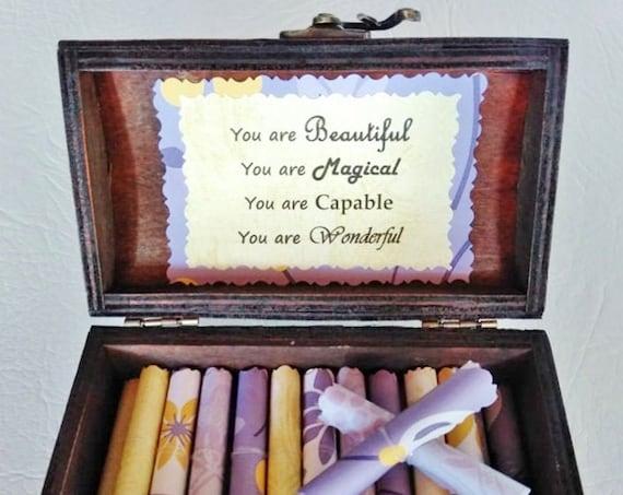 Self Esteem Box - Love Yourself Scroll Box - Positive Self Image - Depression Gift - Self Esteem Gift - Divorce Gift - Cheer Up - Self Love