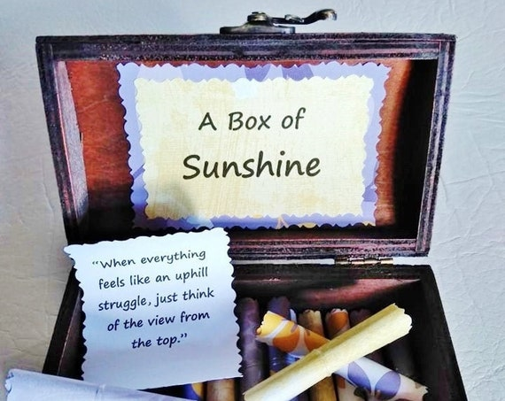 A Box of Sunshine - encouraging quotes in a wood box, encouragement gift, breast cancer gift, get well gift, divorce gift, breakup gift