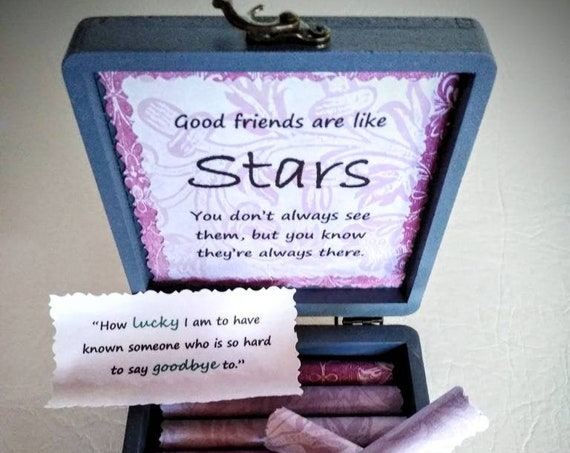 Friend Goodbye Scroll Box - Friendship and Goodbye Quotes in a Gorgeous Wood and Ceramic Box