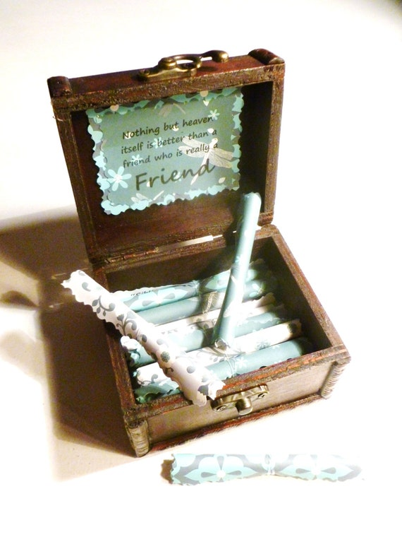 Friendship Scroll Box, Going Away, Birthday, Christmas, Friendship Quotes in Wood Chest, Unique, Personalized, Best Friend, Friends Forever
