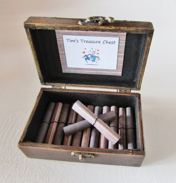 A Treasure Chest of Fun, Date Night Ideas AND Sexual Favors in Wood Chest, Birthday Gift, Anniversary Gift, Valentine Gift Coupon Book
