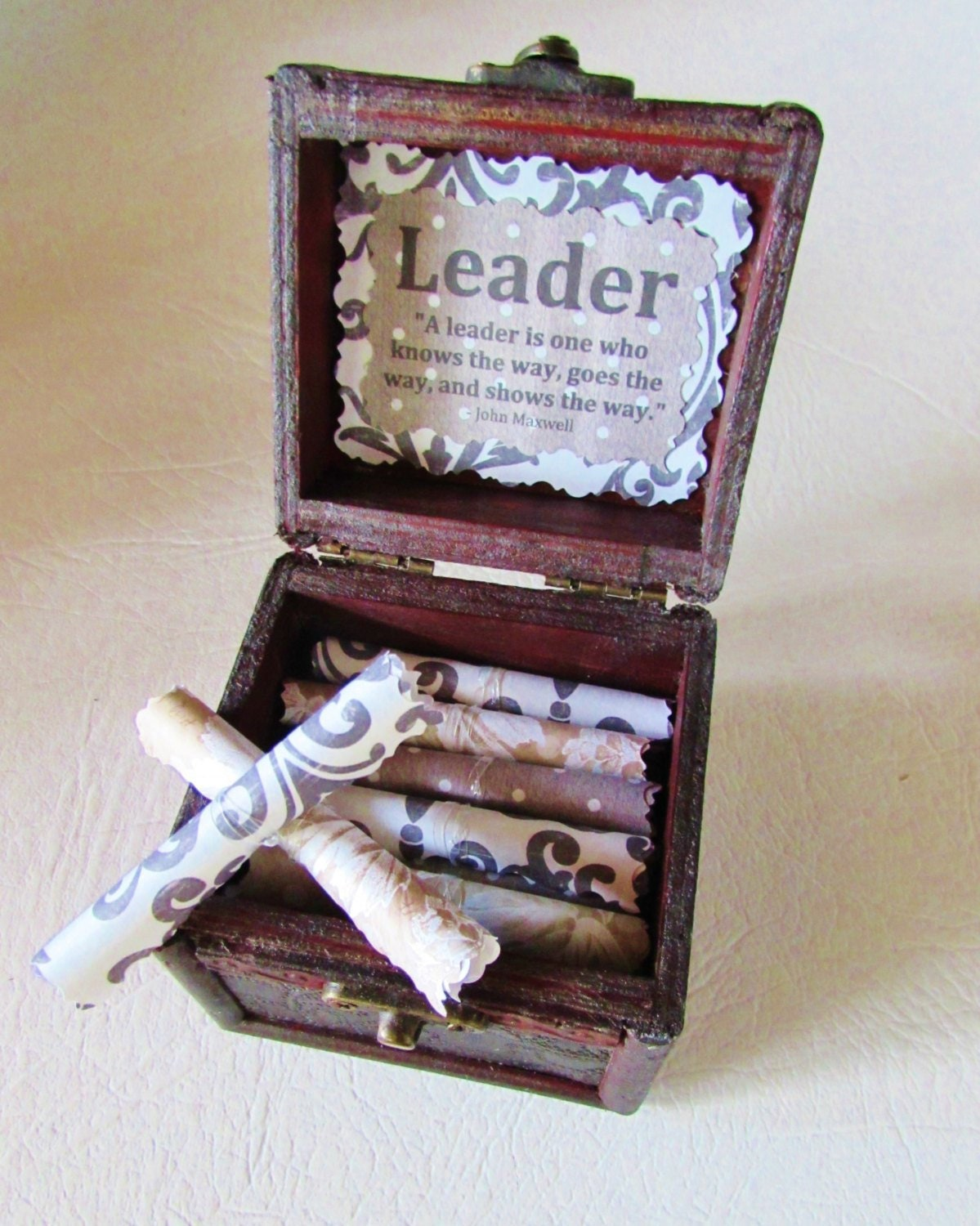 Leadership Scroll Box Quotes In A Wood Boss Day