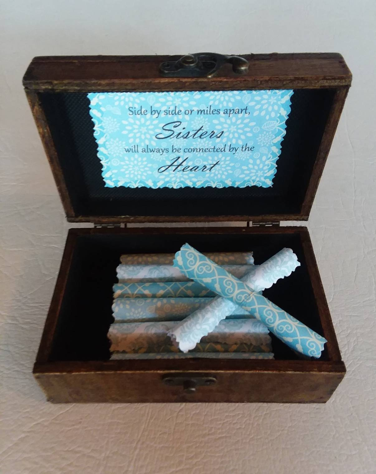 Sister Gift Birthday Christmas Scroll Box Unique Best Little Twin