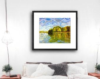 Abstract Swirly Lake Cove Poster Art Print .. Lake House decor