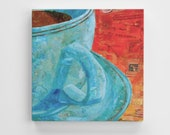 Coffee fine art collage Mounted Canvas Art poster Print