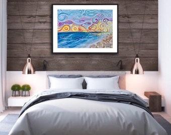 Funky swirly ocean beach sunset wall art print