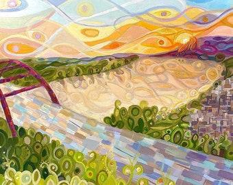 Funky Austin Pennybacker Bridge Colorado River Landscape  Art
