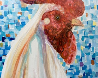 Mod Abstract Chicken Rooster Art