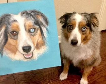Custom Pet portrait from your photo- Original handpainted work on Birch Bark Panel.  Great gift idea.