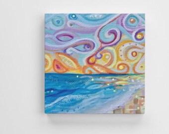 Abstract funky ocean beach Seashore Sunset Art Print Mounted canvas