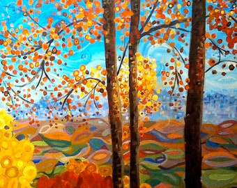 Fall Mountain Abstract Art Landscape Painting
