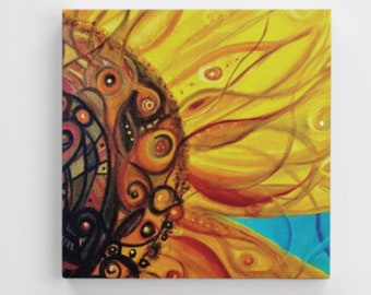 Abstract funky Swirly Sunflower Art Print Mounted canvas canvas