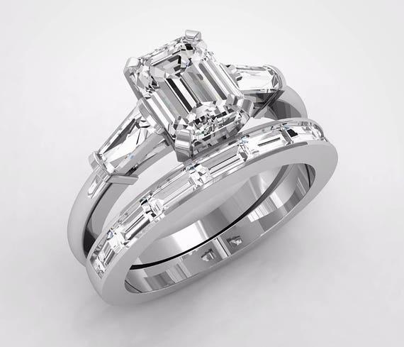 Platinum Baguette Cut Engagement Rings Wedding Ring Set | Etsy