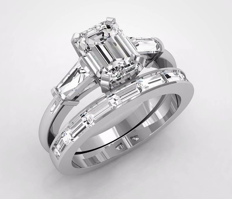 Platinum Wedding Rings.Platinum Baguette Cut Engagement Rings Wedding Ring Set Platinum Engagement Ring Set Colorless Forever One Moissanite Emerald Cut Ring