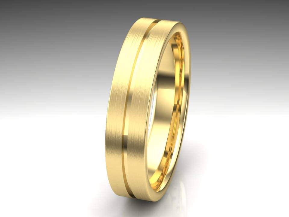 Yellow Gold Mens Wedding Band Mens Wedding Ring Unique Mens Etsy