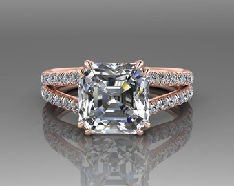 Engagement Ring Moissanite Ascher Cut / 18K Rose Gold Forever One Wedding Ring / Split Shank Diamond Engagement Ring / Wedding Ring RE182W