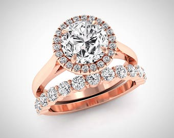 Round Halo Wedding Set, Rose Gold Engagement Ring Set, Moissanite Wedding Rings, 2.80 Carat Forever One Moissanite Rings, Diamond Halo Ring