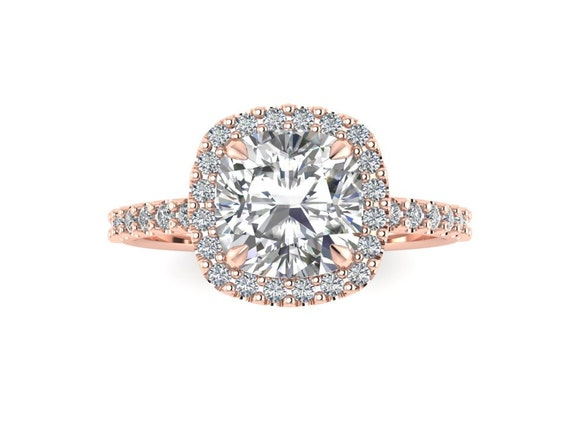 Rose Gold Engagement Ring Rose Gold Ring Cushion Cut Forever One Moissanite Halo Diamond Wedding Ring 14k Rose Gold 1 70 Carat Cushion