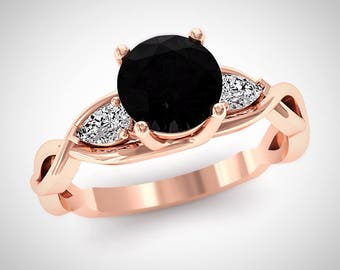 Unique Black Diamond Wedding Ring, Solitaire Black Diamond Ring, Rose Gold Diamond Ring, Pear Cut Diamonds, Womens Engagement Ring