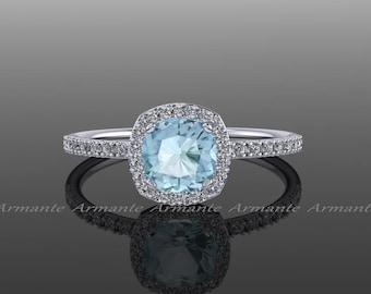 Halo Diamond Aquamarine Engagement Ring Cushion Cut 14k White Gold Wedding Ring,  RE82AQ