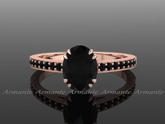 Schwarzer Diamant Verlobungsring Oval Verlobungsring Etsy