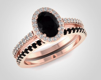 Black Diamond Ring Set Black Engagement Rings Oval Cut Natural Black Diamond and White Diamond Bridal Ring Set Set 14K Rose Gold