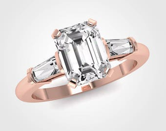 Emerald Cut Three Stone Engagement Ring, Forever One Moissanite Engagement Ring, Taper Baguette, White Gold, Rose Gold, Yellow Gold